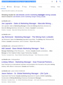 Loooking for linkedin contact using Google advanced search